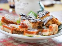 Torte mit Marmelade und Ricotta und Rosinen Kuchen