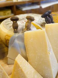 Stücke von gewürzten Käse aus der Pennar Molkerei