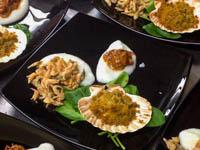 piatto di pesce con capesanta gratinata e frittura di gamberetti