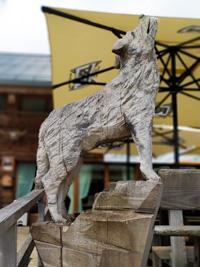 Wolf in Holz geschnitzt auf der Terrasse des Tierheims