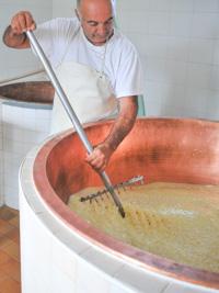 Cooking Asiago Dop cheese in Malga II Lotto Marcesina