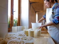 Cheese production with herbs at Malga Larici di Sotto
