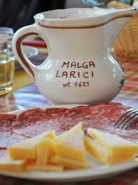 Salumi and cheeses of the Malga Larici di Sotto