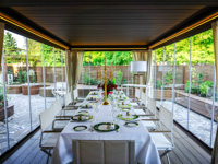 Lunch and dinners on the verandas all year round at the Hotel Sporting in Asiago