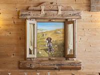 Decorazione a parete con cane da caccia