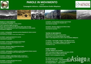 PAROLE in MOVIMENTO- Escursioni LETTERARIE Estate 2016 GUIDE ALTOPIANO