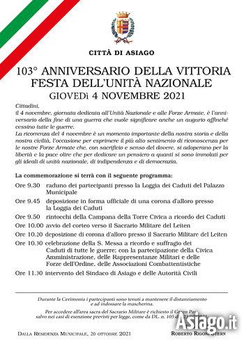 cerimonia 4 novembre 2021 asiago