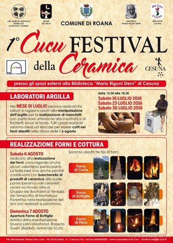 1° CUCU Keramik FESTIVAL, Cesuna di Roana, Juli-August 2016