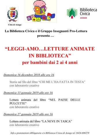 Letture per bambini con laboratori creativi in biblioteca ad Asiago - Dicembre 2018 e Gennaio 2019