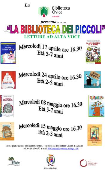 LA BIBLIOTECA DEI PICCOLI - Letture per bambini alla Biblioteca Civica di Asiago - Aprile/maggio 2019