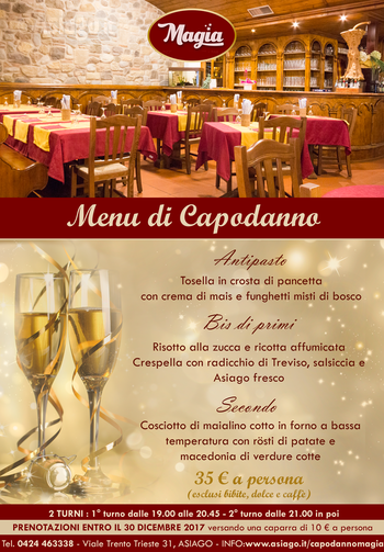 capodanno 2018 la proposta di menu del ristorante