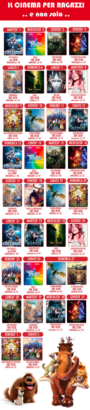 Cinema per ragazzi a Cesuna - estate 2017