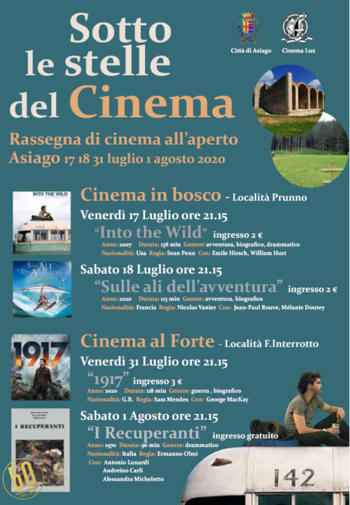 SOTTO LE STELLE DEL CINEMA - Rassegna di cinema all'aperto ad Asiago - Estate 2020