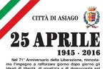 Cerimonia per la Festa della Liberazione, Asiago, 25 aprile 2016