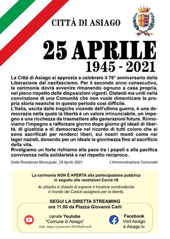 cerimonia 25 aprile 2021 asiago