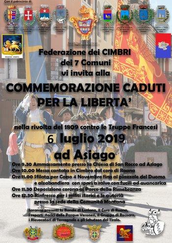 commemorazione caduti liberta ad asiago 2019