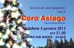 Concerto di canti popolari e natalizi con il Coro Asiago, sabato 3 gennaio 2015