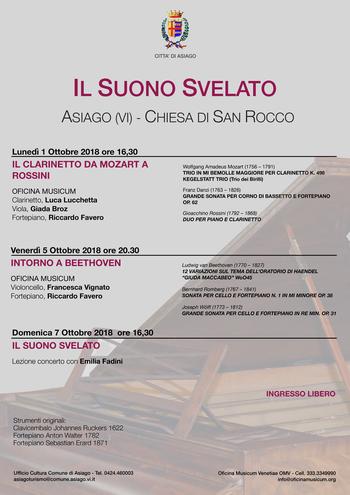 IL SUONO SVELATO - Concerti di musica classica ad Asiago - Dal 1 al 7 ottobre 2018