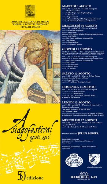50^ edizione di ASIAGO FESTIVAL, concerti ad Asiago, dal 9 al 17 agosto 2016