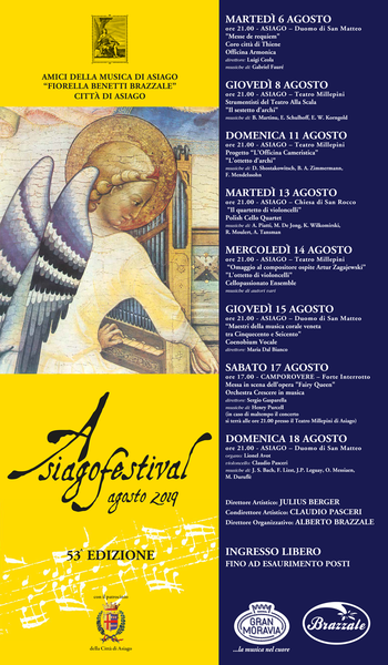 ASIAGO FESTIVAL 2019 - Konzerte in Asiago vom 6. bis 18. August 2019