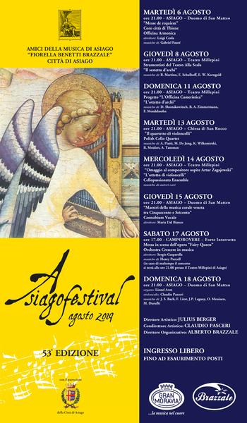 ASIAGO FESTIVAL 2019 - Concerti ad Asiago dal 6 al 18 agosto 2019