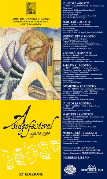 ASIAGO FESTIVAL 2018 -  Concerti ad Asiago dal 6 al 15 agosto 2018