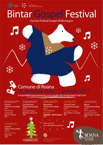 BINTAR GOSPEL FESTIVAL 2016-17 - Programma concerti gospel a Roana e frazioni, sull'Altopiano di Asiago