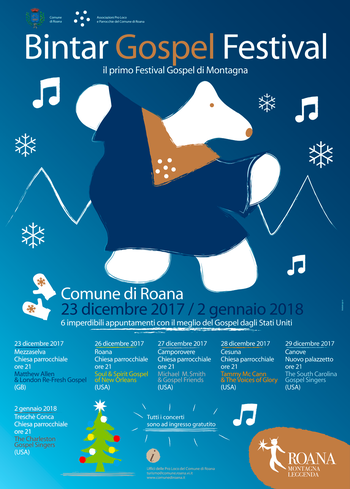 BINTAR GOSPEL FESTIVAL 2017-18-gospel concerts Program in Roana and fractions-Altopiano di Asiago