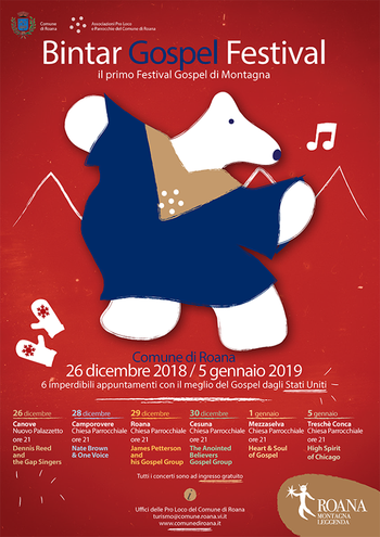 BINTAR GOSPEL FESTIVAL 2018-19 | Programma concerti gospel a Roana e frazioni - Altopiano di Asiago