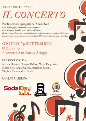 Concerto per il Social Day ad Asiago 9 settembre 2021