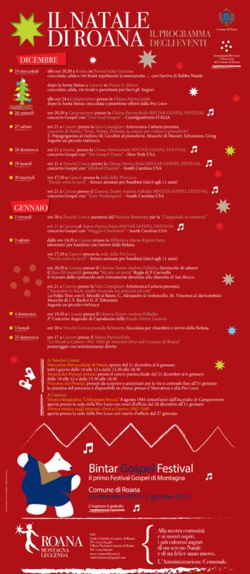 IL NATALE DI ROANA, Christmas events programme 2014-2015