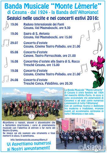 Programma concerti estivi BANDA