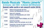 """Programma concerti estivi BANDA """"MONTE LEMERLE"""" di Cesuna, giugno-agosto 2016"""