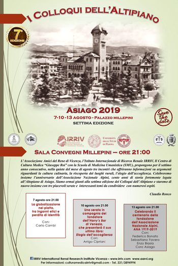 I COLLOQUI DELL'ALTIPIANO 2019 ad Asiago - 7, 10 e 13 agosto 2019