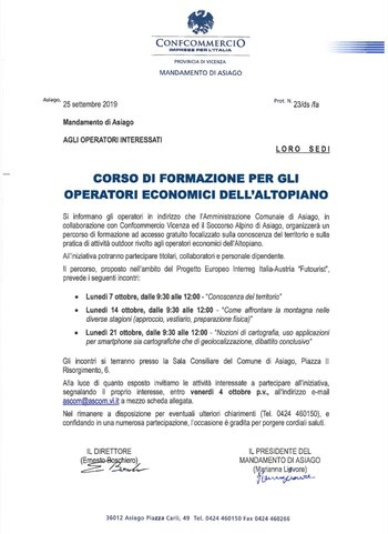Corso di formazione per gli operatori economici dell'Altopiano ad Asiago - 7, 14 e 21 ottobre 2019