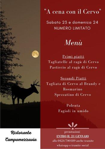 a cena con il cervo ristorante campomezzavia asiag