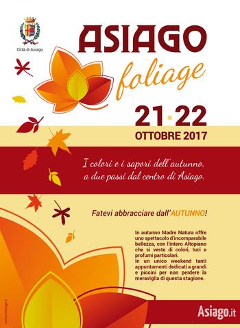 Asiago Foliage 2017, colori e sapori d'autunno sull'Altopiano di Asiago, 21-22 ottobre 2017