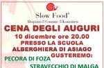Cena degli auguri di Natale con Slow Food, Asiago, 10 dicembre 2016