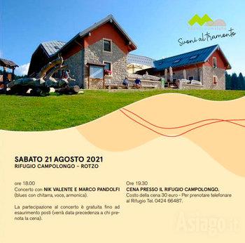 Concerto e cena presso il Rifugio Campolongo 21 agosto 2021