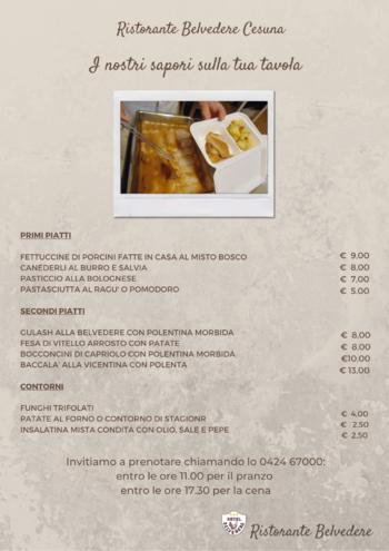 menu asporto e domicilio ristorante belvedere cesu