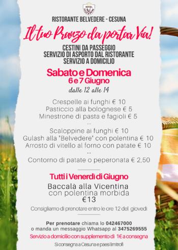 menu belvedere cesuna 6 e 7 giugno 2020