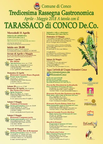 At the table with the DANDELION CONCO-13th culinary event on the Asiago plateau-April-May 2018