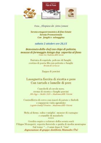 Serata enogastronomica all'Hotel Ristorante Alpi di Foza