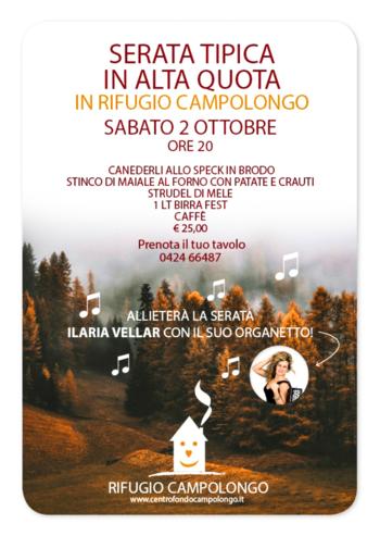 Serata tipica in alta quota con cena e musica al Rifugio Campolongo