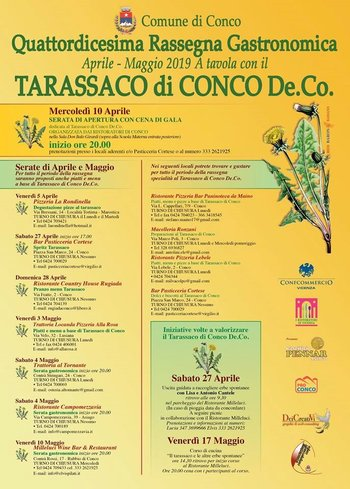 A TAVOLA CON IL TARASSACO DI CONCO - 14ª Rassegna gastronomica sull'Altopiano di Asiago - Aprile e maggio 2019