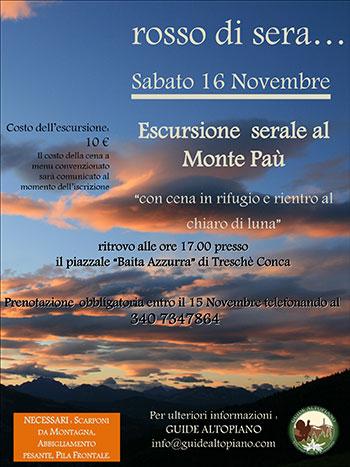 Escursione serale al monte pa con guide altopiano sabato for Baita asiago capodanno