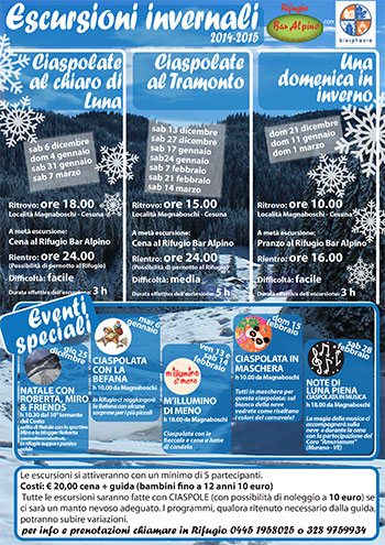 Winter Wanderprogramm Alpine Bar Hütte Asiago Hochebene 2014-15
