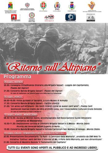 Ritorno sull'Altipiano, Grande Guerra e ricordo dei fanti della Brigata Sassari