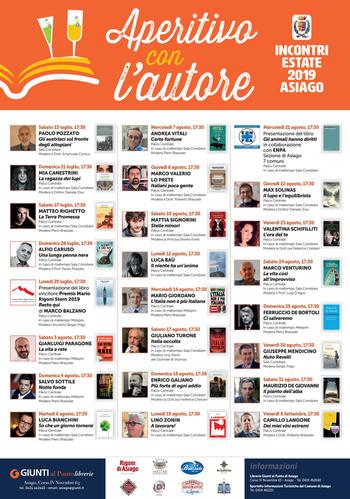 APERITIVO CON L'AUTORE - Rassegna letteraria ad Asiago - Luglio/agosto 2019