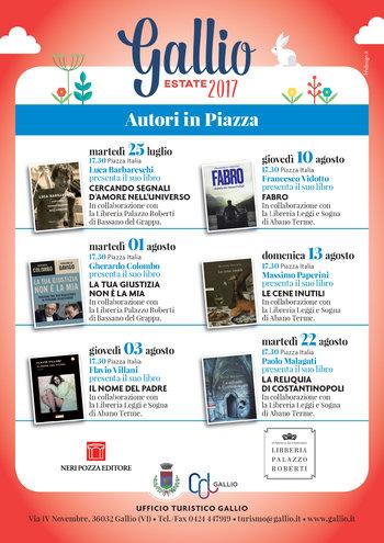 Autoren IN Quadrat-Buchpräsentation in Piazza eine Gallium-Juli/August 2017